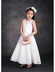 A-Line Ankle Length Flower Girl Dress - Lace Satin Tulle Sleeveless Jewel Neck with Lace