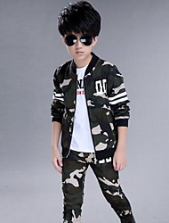 Boys' Sports Print Sets,Cotton Rayon Spring Fall Winter Long Sleeve Clothing Set