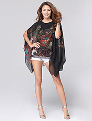 cheap -Women's Sexy Plus Size Casual / Beach / Holiday Floral Loose Chiffon T-shirt