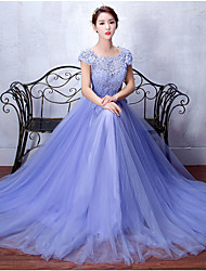 cheap -A-Line Scoop Neck Sweep / Brush Train Tulle Stretch Satin Prom Formal Evening Dress with Beading Appliques Sash / Ribbon Sequins by DRRS