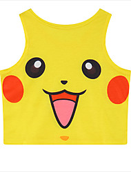 Inspired by Pocket Little Monster PIKA PIKA Anime Cosplay Costumes Cosplay Tops/Bottoms Print Sleeveless Vest For Female