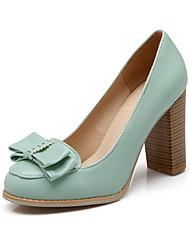 povoljno -Žene Cipele PU Proljeće Ljeto Udobne cipele Cipele na petu Kockasta potpetica Mašnica za Kauzalni Ured i karijera Formalne prilike Crn