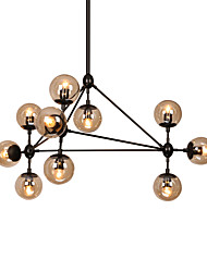 cheap -Modern Dimmable Modo Chandelier 10 Lights Semi-Flush Mounted Black Paiting Amber Glass for Living Room Loft Light