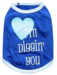 cheap -Cat Dog Shirt / T-Shirt Dog Clothes Floral / Botanical Blue Cotton Costume For Pets Men's Women's Fashion