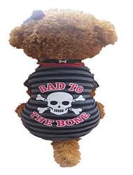 preiswerte -Hund T-shirt Hundekleidung Atmungsaktiv Streifen Totenkopf Motiv Grau/Rot Kostüm Für Haustiere