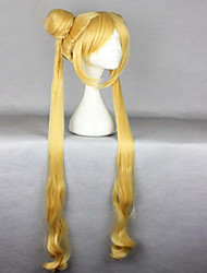 cheap -Hot Sell High Quality Heat Resistant 100cm Cute Golden Curly Wavy Women Cosplay Sailor Moon Wig +Long Pigtails
