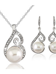 Women's Jewelry Set Drop Earrings Necklace/Earrings Basic Adjustable Elegant Bridal Wedding Party Daily Casual Pearl Imitation Diamond