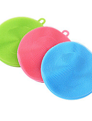cheap -Soft Silicone Cleaning Brush Dish Wash Sponge Kitchen Scrubber Kitchen Cleaning