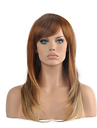Top Quality OmbreLight Brown/Blonde Color Wig Middle Length Straight Hair Synthetic Wigs