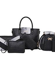 povoljno -Žene Torbe PU Tote torbica Bag Setovi Navlaka za Šoping Kauzalni Formalan Ured i karijera Sva doba Obala Crn Sive boje Crvena Pink