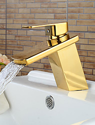 Modern Ti-PVD Finish Waterfall Bathroom Sink Faucet (Short)- Gold