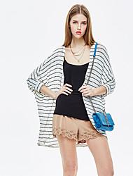 baratos -Mulheres Padrão Jacket kimono Para Noite Simples Casual Verão, Listrado Raiom Poliéster Elastano Decote Redondo