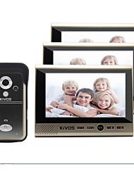 Недорогие -kivos беспроводной дверной звонок бытовой один с тремя 7-дюймовый цветной видеодомофон дверной звонок камеры контроля