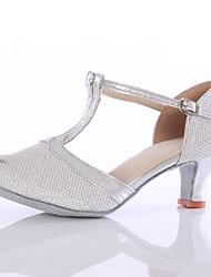 cheap -Women's Dance Shoes Sparkling Glitter Latin Ballroom Heels Heel Indoor Silver / Gold Customizable