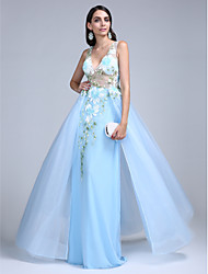 A-Line V-neck Floor Length Tulle Prom Formal Evening Dress with Pattern / Print by TS Couture®