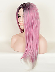 Pink Color Straight Synthetic Wigs European and American Fashion High Temperature Birthday Gift Hot Sale