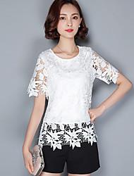 cheap -2016 Summer Women New Casual Openwork Lace Shirt