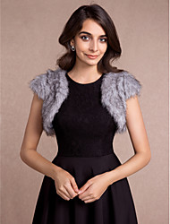 cheap -Sleeveless Faux Fur Wedding Party Evening Casual Women's Wrap With Wave-like Vests