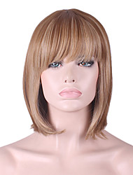 cheap -Synthetic Wig Straight / kinky Straight Bob Haircut / With Bangs Synthetic Hair Natural Hairline Brown Wig Women's Mid Length Capless