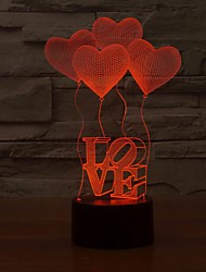 românticos 3d visualização levou luzes da noite de coração em forma, ilusão óptica de arte de luz que muda de cor à noite