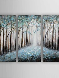 cheap -Oil Painting Abstract Landscape Set of 3 Hand Painted Canvas with Stretched Framed Ready to Hang