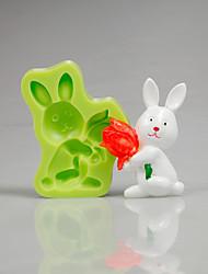 Påske bunny tulipan silikone skimmel fondant kage dekorere værktøjer til cupcake slik polymer farve tilfældigt