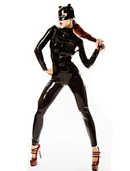 Women's PVC Catwomen Catsuit PU Stripper Dress With Mask