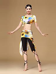 Danza del ventre Completi Per donna Addestramento Rayon Fibra di latte 3 pezzi Maniche corte Cadente Top Gonna Pantaloni