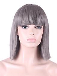 abordables -Pelucas sintéticas Recto / Yaki Corte Bob / Con flequillo Pelo sintético Entradas Naturales Gris Peluca Mujer Longitud Media Sin Tapa