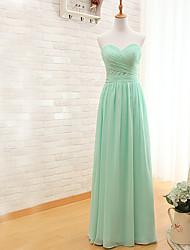 preiswerte -Brautjungfer Kleid bodenlangen Chiffon - Mantel / Spalte Schatz mit xiangyouyayi