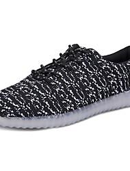 levne -Pánské Obuv Tyl Jaro Podzim Svítící boty Pohodlné Šněrování pro Sportovní Ležérní Černá Šedá Fuchsiová