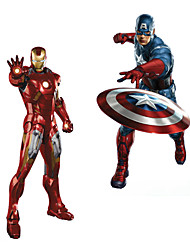 3D Superhero Avengers Iron Man With Captain America 3D Wall Stickers DIY Fashion Living Room Wall Decals