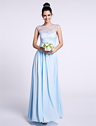 cheap -Sheath / Column Bateau Neck Ankle Length Chiffon / Lace Bridesmaid Dress with Lace by LAN TING BRIDE® / See Through