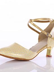 cheap -Women's Latin Leatherette Heel Indoor Buckle Customized Heel Blue Pink Golden Customizable