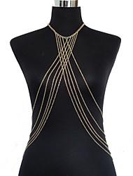 abordables -Mujer Joyería Corporal Cinturones metálicos Para Cuerpo collar arnés Chapado en Oro Sexy Crossover Bikini Moda Dorado Joyas Diario Casual