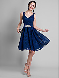 cheap -A-Line V Neck Knee Length All Over Lace Bridesmaid Dress with Crystals / Lace by LAN TING BRIDE® / Open Back
