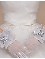 cheap -Tulle Wrist Length Glove Bridal Gloves Party/ Evening Gloves With Bow