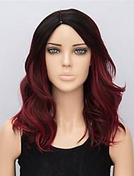 Femme Perruque Synthétique Mi Longue Ondulés Fuxia Cheveux Colorés Noir perruque Perruque Halloween Perruque de carnaval Perruque