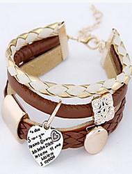 Недорогие -Женский Wrap Браслеты Кожаные браслеты Мода Богемия Стиль Кожа Круглый Любовь Бижутерия Назначение Повседневные Новогодние подарки