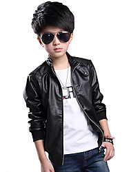 cheap -Boy's Spring/Autumn Medium-large Child Outerwear PU Leather Jacket