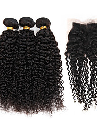"cheap -Brazilian Hair 3 Bundles with 1 Piece Lace Closure 4""x4"" Top Closure Unprocessed Kinky Curly Hair Weave"