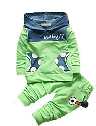 Drengens Tøjsæt Bomuld Trykt mønster Casual/hverdag Efterår Grøn / Lyserød / Lilla / Gul
