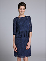 Sheath / Column Jewel Neck Knee Length Lace Mother of the Bride Dress with Lace by LAN TING BRIDE®