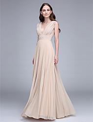 cheap -Sheath / Column V Neck Floor Length Chiffon Bridesmaid Dress with Draping Ruched by LAN TING BRIDE®
