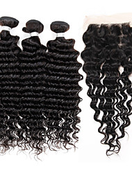 cheap -Brazilian Hair Deep Wave Hair Weft with Closure 3 Bundles With  Closure 10-24inch Human Hair Weaves 4x13 Closure Hot Sale natural black