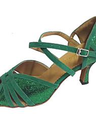 Недорогие -Жен. Танцевальная обувь Лак / Замша Обувь для латины / Обувь для сальсы Сандалии Каблуки на заказ Персонализируемая Зеленый / В помещении / Профессиональный стиль