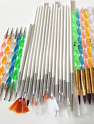 cheap -15pcs nail art tools brushes+5PCS Nail Art Acrylic Pen Brush+5PCS 2-Way Nail Art Dotting Tool