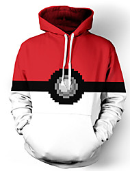 3D Hoodies Geometric Pocket Little Monster Print Front Pocket Loose Fit Drawstring Hooded Long Sleeve For Male/Female