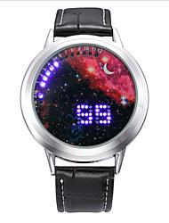 cheap -Fashion Men's Black Leather Colorful Stars Date Digital LED Watch Bracelet Sport Watches