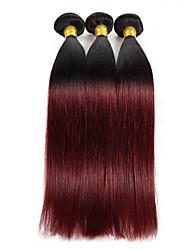 billige -3 Bundler Indisk hår Lige Nuance Menneskehår Vævninger Menneskehår Extensions / Ret